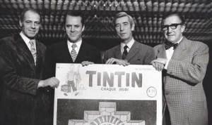 Rechts op de foto: Hergé en Edgar P. Jacobs (aangehaald als E.P. Jacobini)