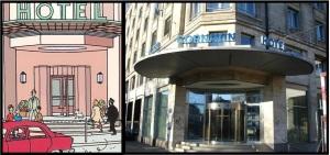 Hotel uit het stripboek en het echte hotel